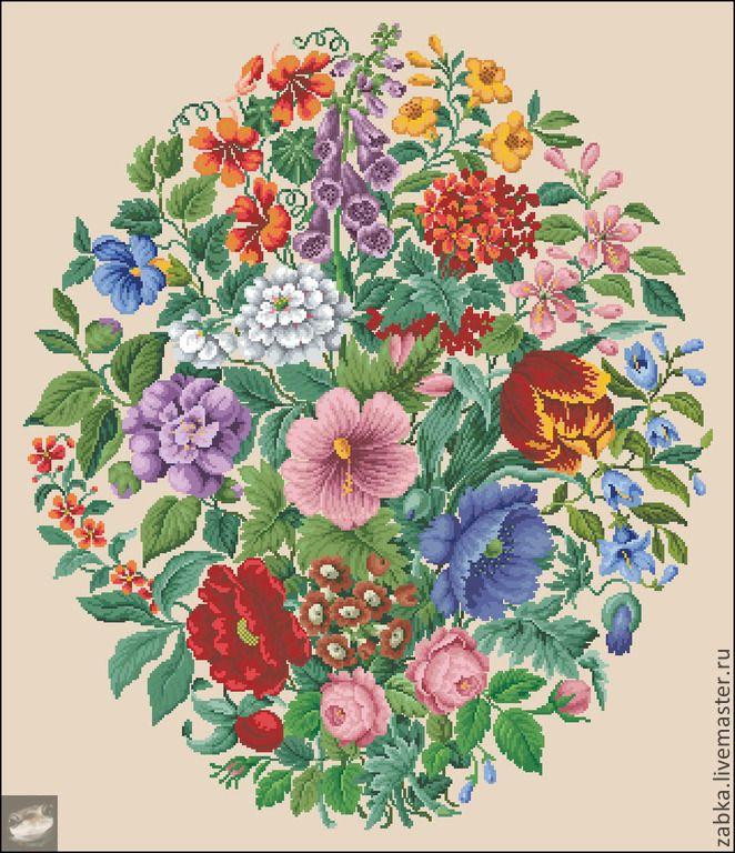 Купить Овальный букет - старая схема вышивки, ретро, цветы, белый, антикварная схема