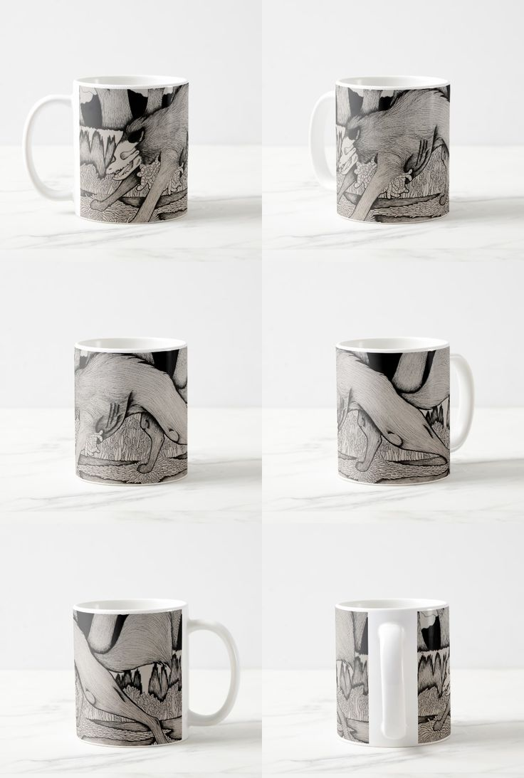 """""""Heartworms"""" Black and white macabre wolf Coffee Mug"""