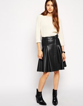 Enlarge ASOS Kilt Skirt with Wrap in Leather Look -- I'd love one of these in kid leather... got to get some leather/HD needles for my sewing machine!