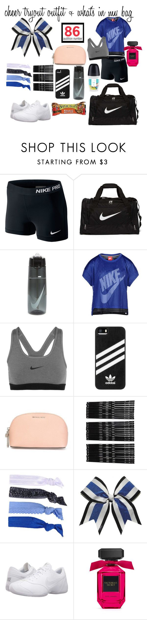 """""""cheer tryout outfit + what's in my bag"""" by brooklynwhtie on Polyvore featuring NIKE, adidas, MICHAEL Michael Kors, Monki and Glam Bands"""