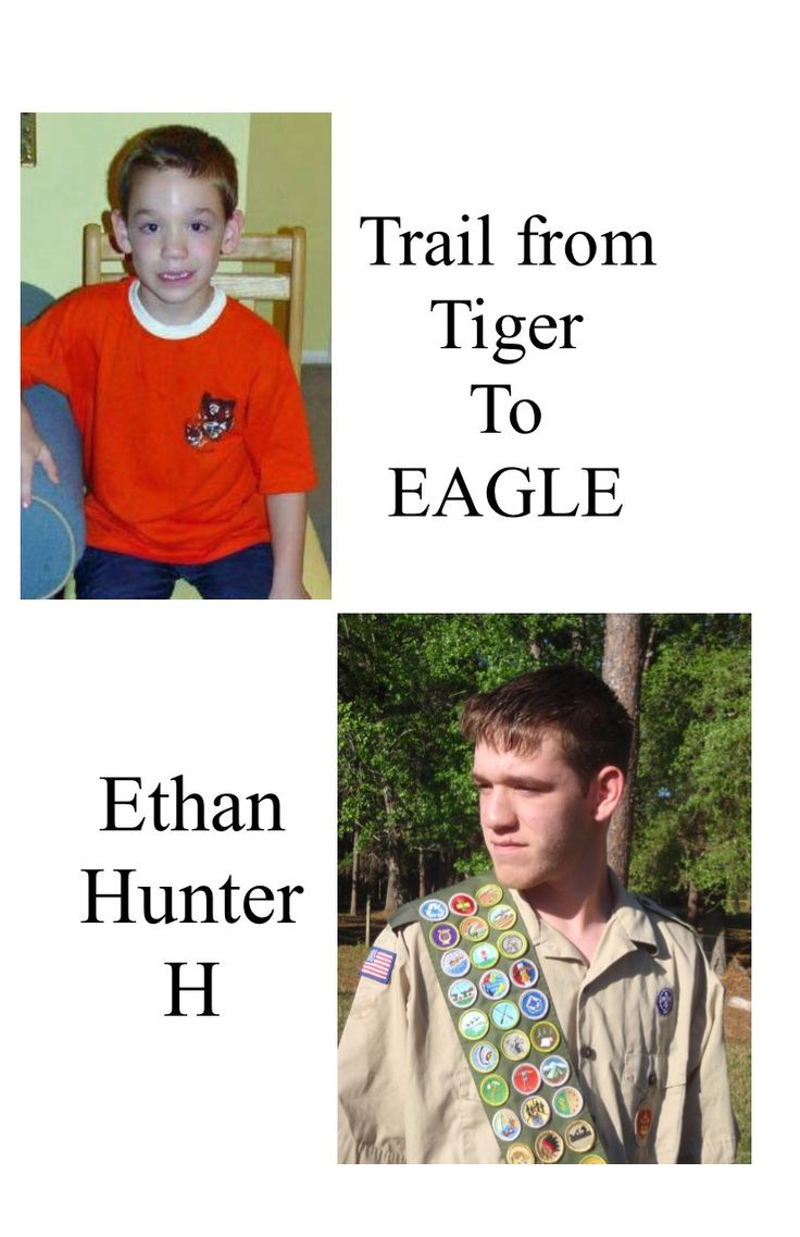 Eagle Scout Program. Trail from tiger to Eagle.  This was the front of the program.  I love the fact we have the Tiger Cub picture to go with the Eagle scout picture.