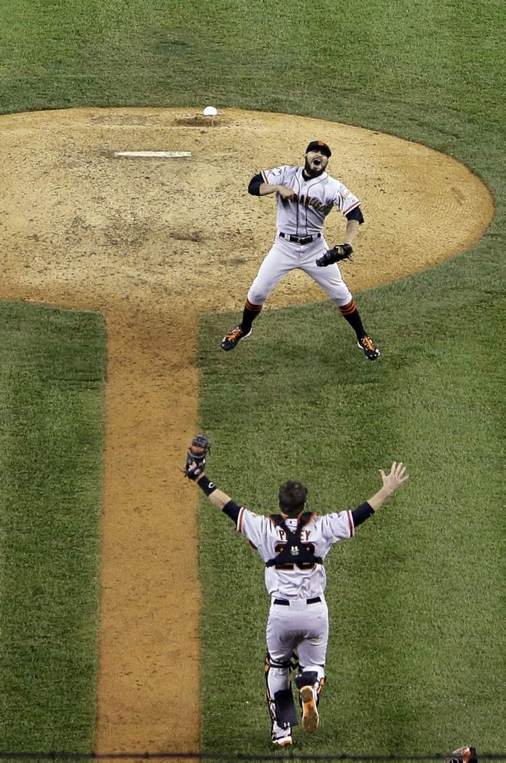 Cool shot from the final moment of the 2012 Showdown. San Francisco Giants World Series Champions!!