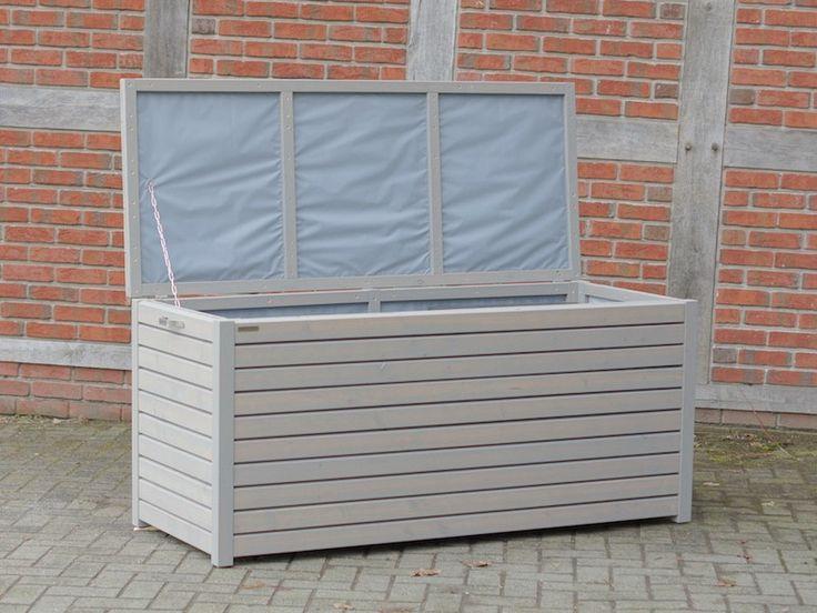 Auflagenbox / Kissenbox Holz L, Transparent Geölt Grau