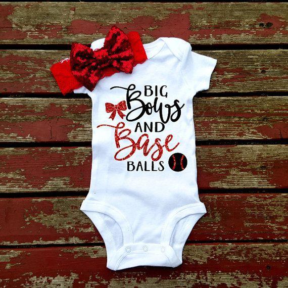 Big Bows And Baseballs Bodysuit, Baby Girl, Girls, Toddler, Sports, Baseball, Softball, Summer, Spring, Headband, Bow, Play Ball, Bases
