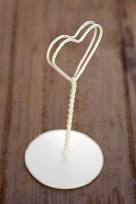 Heart Shaped Ivory Table Name Holders
