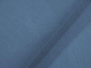 Плотная льняная ткань для штор серо-синего цвета