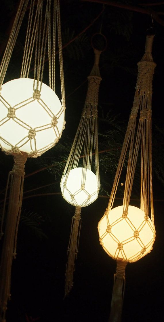 The 'FRANK' Contemporary knotted LED hanging by KnotsByFrankie