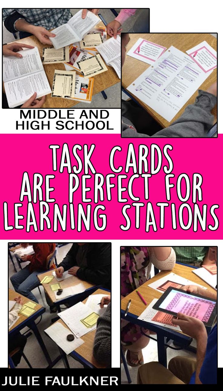 Learning Stations for Middle School and High School English, Task Cards, Centers