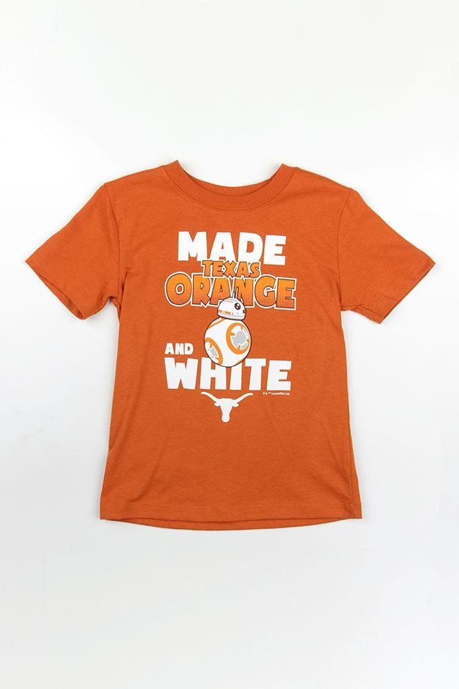 "Resist the temptation to trade in your kid for 60 rations! Just like BB-8, your toddler was ""Made Texas Orange and White"", and there's no way to hide it! This Star Wars inspired t-shirt features the quote with a BB-8 character in the middle and a Longhorn logo."