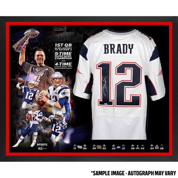 Tom Brady New England Patriots Fanatics Authentic Framed Autographed White Nike Elite Jersey 5-Time Champion Collage - TRISTAR - $2099.99