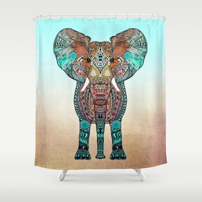 BOHO SUMMER ELEPHANT Shower Curtain by Monika Strigel - $68.00