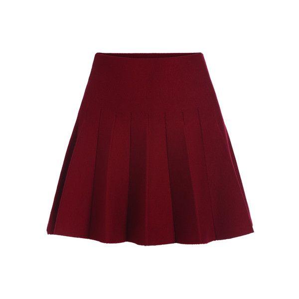 Elastic Waist Flare Maroon Skirt (£9.07) ❤ liked on Polyvore featuring skirts, romwe, maroon skirt, flared skirt, red skirt, flare skirt and elastic waistband skirt