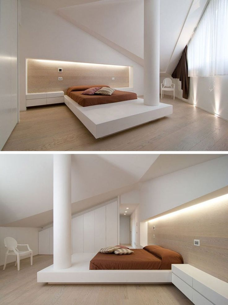 BEDROOM DESIGN IDEA - Place Your Bed On A Raised Platform // The elongated platform in this bedroom functions to support the bed and works the column into the design of the space.