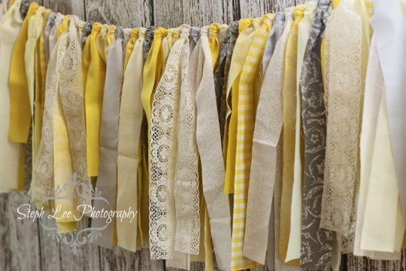 Yellow Grey Antique White Fabric Strip Banner / Rag Tie Garland, Photography Banner, Bridal / Baby Shower / Wedding Banner, Fabric Decor