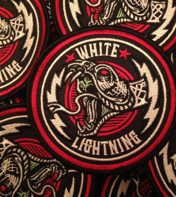 """White Lightning - 3.5"""" Embroidered Patch"""