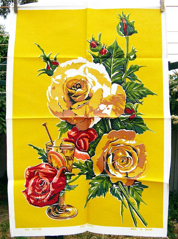 Vintage Tea Towel Yellow Red and Green with by BessieAndMaive