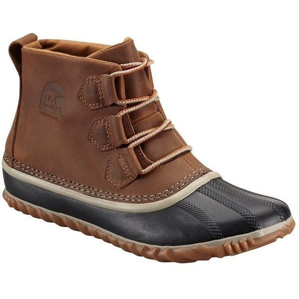 Sorel Women's Out N' About Leather Duck Boots ($115) ❤ liked on Polyvore featuring shoes, boots, elk, waterproof shoes, leather shoes, rounded toe boots, lace up boots and leather boots