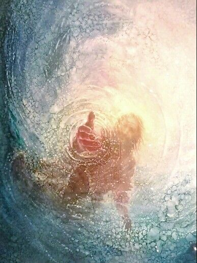 "This is beautiful. Just imagine yourself as Peter...you had miraculously  just walked on water to Jesus.  Then, for a split second, you took your eyes off of Him. You plunge under water & panic sets in and you look up and see Christ's hand is outstretched.  No matter how deep we get or how drowned we feel.  Yongsung Kim. ~ artist  ""Hand of God"""