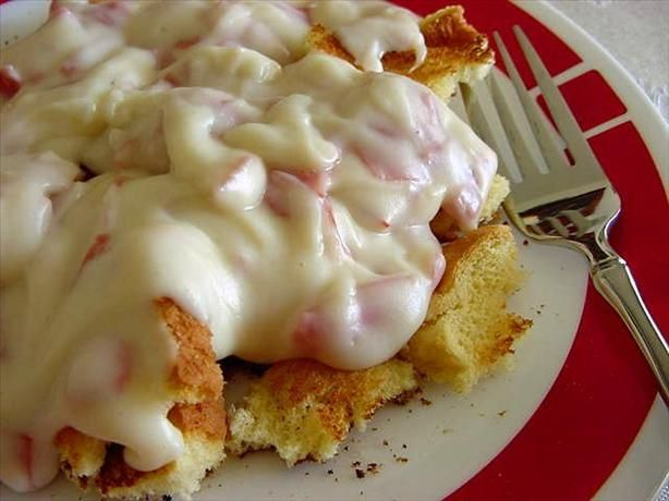 Chipped Beef on Toast - Cut 1 - 2oz pkg beef into ribbons or pieces. Melt 1/4 cup butter in pan on medium heat. Mix in 1/4 cup flour and 1/8 tsp pepper with a whisk or fork. SLOWLY add 2 cups milk, mixing constantly. Bring to simmer and add beef.  Simmer for five minutes.  Serve over toast. Serves 4