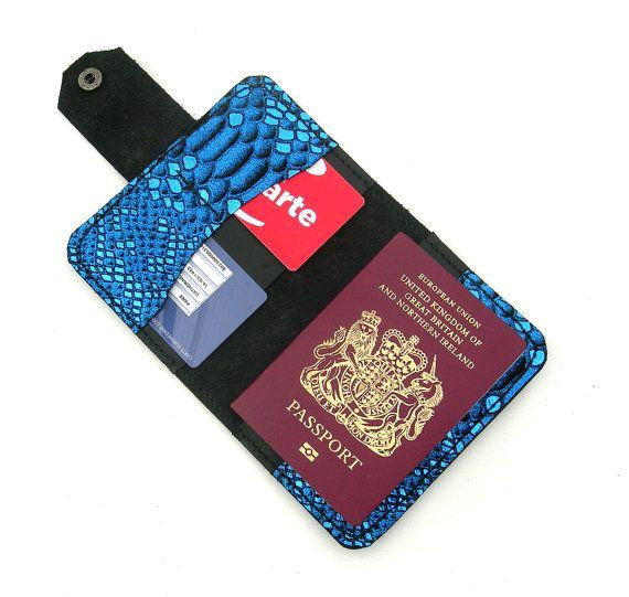 Black leather passport cover.  Leather passport by HoneysuckleBarn