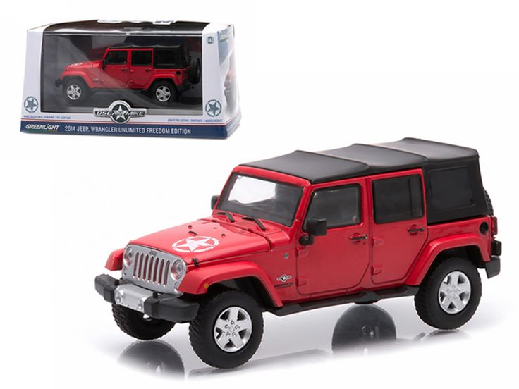 2014 Jeep Wrangler Unlimited Freedom Edition (Soft Top ) Flame Red With Display Showcase 1/43 Diecast Model Car by Greenlight - Rubber tires. Brand new box. Limited Edition. Detailed interior, exterior. Comes in plastic display showcase. Dimensions approximately L-4 inches long.-Weight: 1. Height: 5. Width: 9. Box Weight: 1. Box Width: 9. Box Height: 5. Box Depth: 5