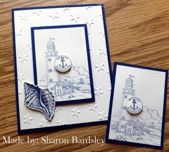 ATC card Stampin' Up! Lighthouse, By The Tide, Lucky Stars EF, Dies by Dave