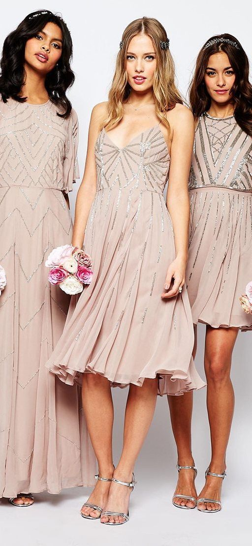 Neutral Embellished Bridesmaid Dresses So Pretty