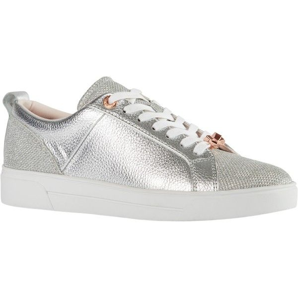 Ted Baker Kulei Lace Up Trainers (155 BGN) ❤ liked on Polyvore featuring shoes, sneakers, silver, leather sneakers, sports trainer, leather flat shoes, flat lace-up shoes and bow sneakers