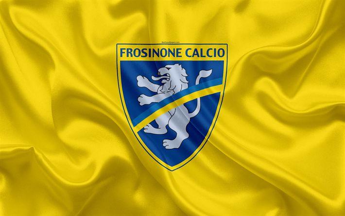 Download wallpapers Frosinone Calcio, FC, 4k, Serie B, football, silk texture, emblem, silk flag, logo, Italian football club, Frosinone, Italy