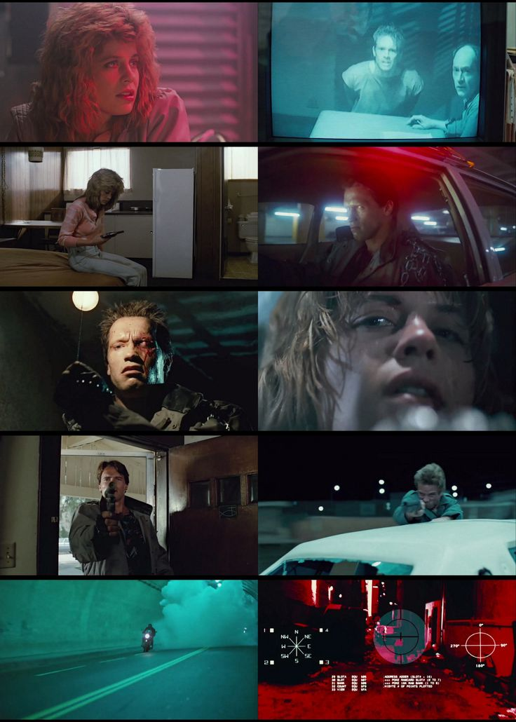 The Terminator, directed by James Cameron, screenplay by James Cameron and Gale Anne Hurd, cinematography by Adam Greenberg, and edit by Mark Goldblatt.
