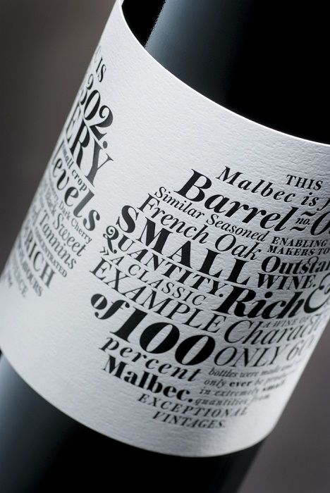 Typography on a wine label