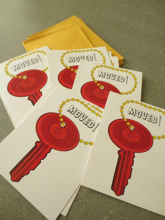 Vintage Cards, We've Moved Cards, Change of Address Cards, Key Image, 1970s Cards, New Address Cards on Etsy, $6.50