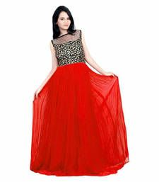Buy red georgette embroidered semi stitiched party wear gown party-wear-gown online