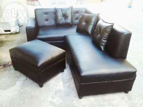 Black leather l shape sofa set for sale philippines find for Sala set for sale