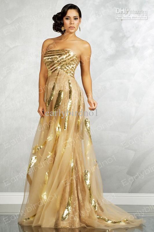 Sexy Gold Evening Dress Strapless Sequins BlingBling Floor Length