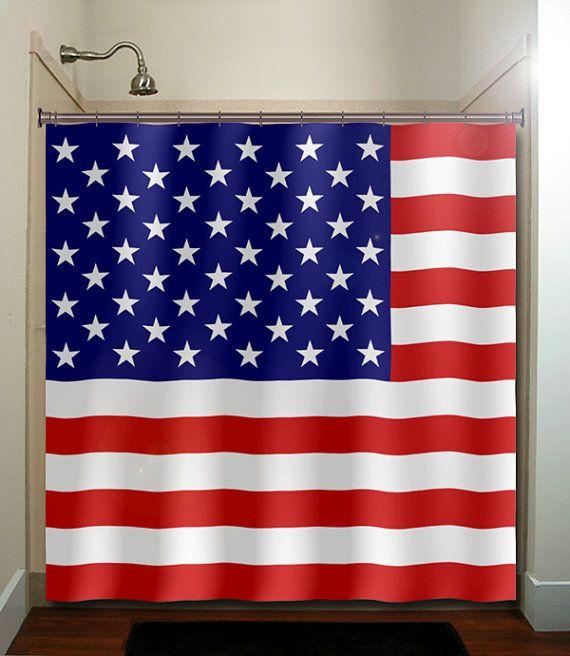 America United States Usa Flag Shower Curtain Bathroom Decor Fabric Kids Bath Window Curtains