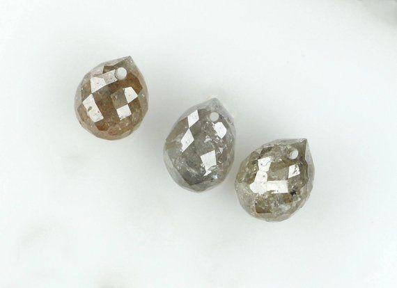 60a80a74e7855 82 Natural Loose Diamonds Drop Shape Grey Color I3 Clarity 3 Pcs ...