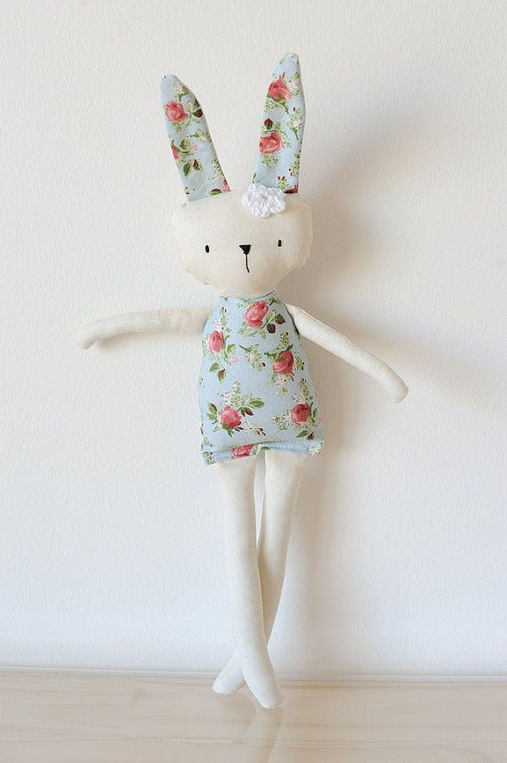 Handmade Rag Doll Bunny red flower fabric by SaraRosettaHandmade