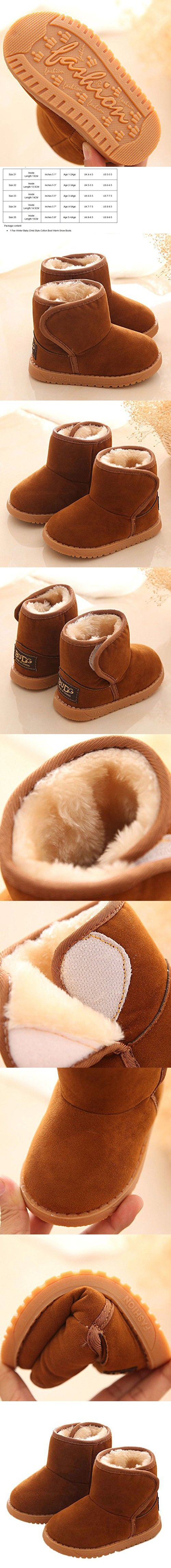 Usstore 1 Pair Baby Infant Toddler Newborn Prewalker Cotton Shoes Snow Boots (1-2Age, Brown)