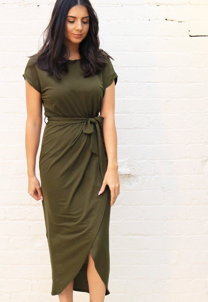 68d0411b2a8 Jersey Midi Short Sleeve T-Shirt Dress with Curve Hem Wrap Skirt in Khaki  Green in 2019 | t-shirts | Shirt Dress, Jersey skirt, Dresses