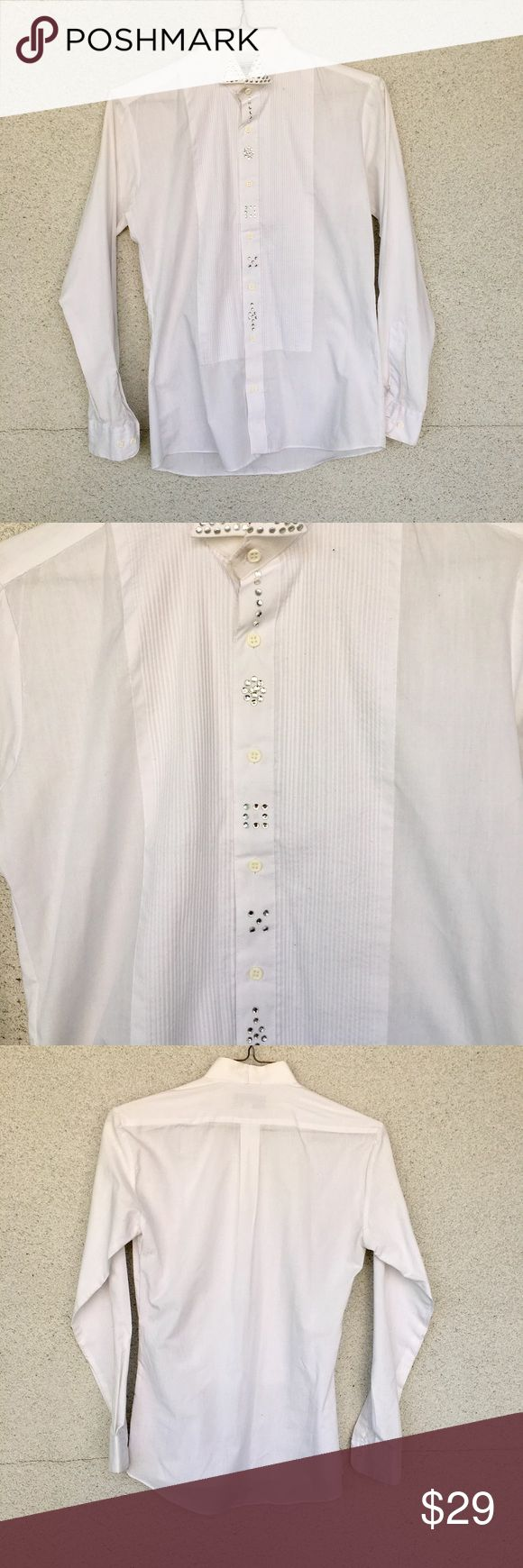 White Bedazzled Shirt Size S white button down from wayne scott new york sold at neimans Neiman Marcus Tops Button Down Shirts