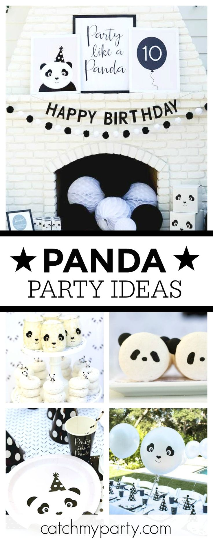 Take a look at this fantastic black & white Panda birthday party! The table settings are so cool!! See more party ideas and share yours at CatchMyParty.com