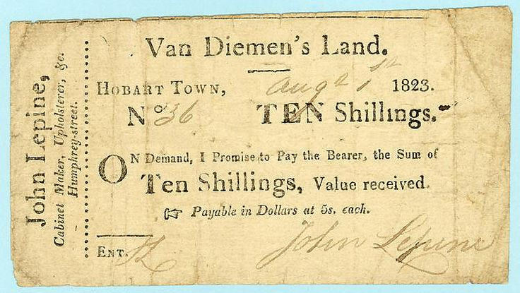 1823 Van Diemen's Land Ten Shilling Promissory Note By John Lepine Good