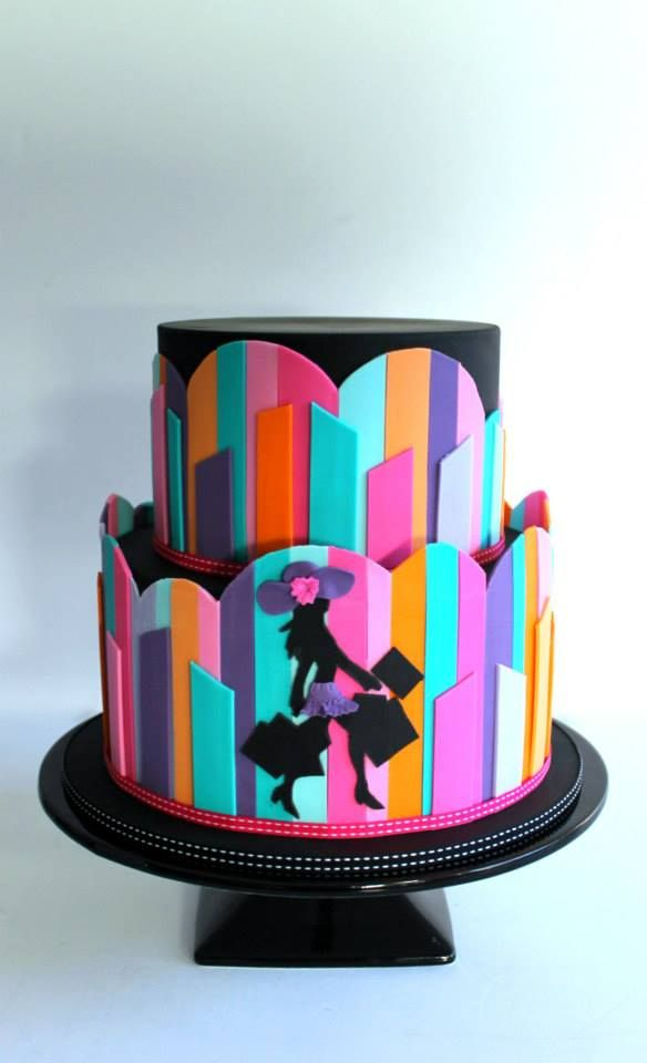 Fashionista Abstract Art Cake by Little Wish Cake -  To view our Silhouette cutters, please visit http://www.craftcompany.co.uk/equipment/cutters-veiners-embossers/patchwork-cutters.html