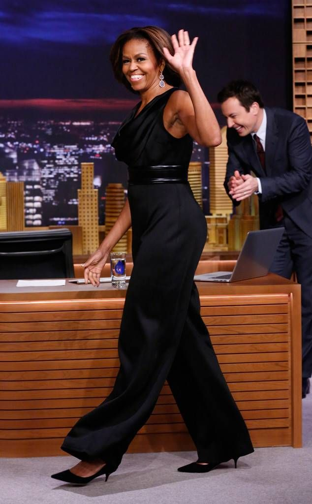 "<p>Lady O's chic black St. John <a href=""http://www.eonline.com/news/513458/michelle-obama-rocks-jumpsuit-on-the-tonight-show-starring-jimmy-fallon"" target=""_blank"">jumpsuit</a> was an awesomely on-trend choice for <em>The Tonight Show Starring Jimmy Fallon</em>.</p>"