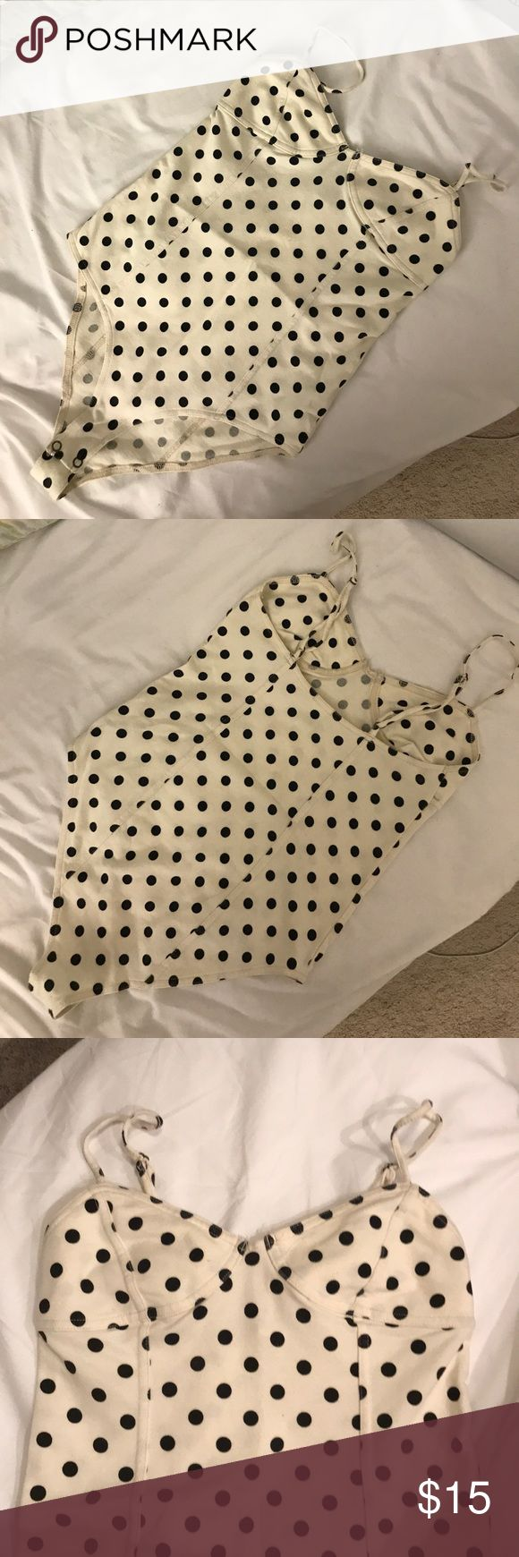 Polka Dot Body Suit Adjustable straps, buttons at the bottom, and very cute pattern. Looks cute with high waisted shorts or a circle skirt. Forever 21 Intimates & Sleepwear