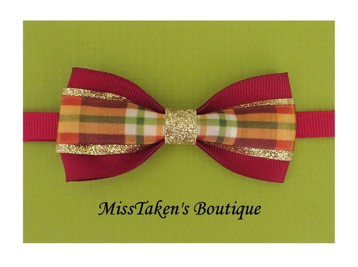 "Maroon Plaid Bow Tie    Adjustable Neck Size: 7.5-13"" (19-33cm)   Bow: 8cm x 4cm   Collar: 1cm Grosgrain Ribbon   Plastic Hook"