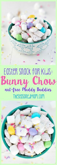 """Packed full of fluffy white marshmallow """"bunny tails"""" and pastel """"eggs,"""" this 10-minute Bunny Chow is a spring-themed twist on the classic """"Puppy Chow"""" recipe. Plus, my version of Muddy Buddies can easily be made nut-free, so it's a perfect classroom Easter Snack for Kids!"""
