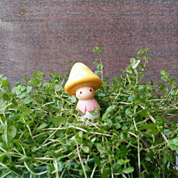 Yellow Mushroom Fairy Friend Figure   Miniature Garden Accessories, Fairy  Garden Figurines, Faerie Garden