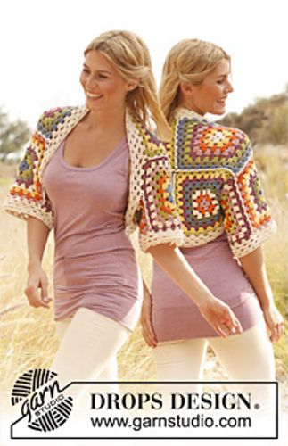 """Ravelry: 139-31 """"Spring Cozy"""" - Shoulder piece with squares in """"Paris"""" pattern by DROPS design"""